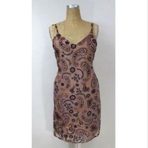 JAPNA Velvet Embroidered Slip Dress - LARGE